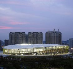 Green stems support the circular roof of the Bao'an Stadium, which hosted football matches during the Universiade games.