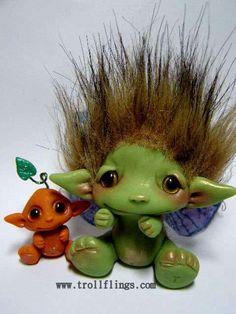 "OOAK Baby Goblin Faerie Trollfling troll doll ""Kaeli"" by Amber Matthies"
