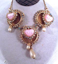 Vintage HOBE RHINESTONE NECKLACE Triple Pink Hearts Aurora Borealis Rhinestones Faux Pearl Gold Tone Necklace