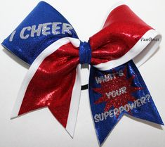 I CHEER what's YOUR superpower - custom cheerleading bow by Funbows
