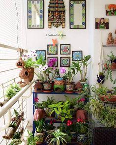 Small Balcony Decor, Small Balcony Design, Small Balcony Garden, Vertical Garden Design, Indian Home Interior, Indian Home Decor, Porches, Indian Aesthetic, Game Room Design