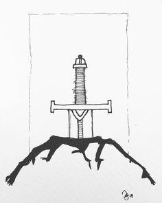 #inktober. Day 18: Sword in a stone #kuretake #usa #dearjetpens #manuscriptinktober @manuscriptpenco #inktober2015