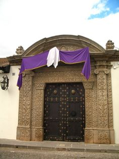 Lent Decorated Doorway, Antigua, Guatemala. by Rudy Giron