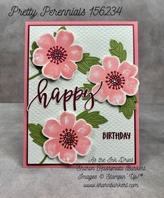 Pretty Perennial bundle in Flirty Flamingo, Merry Merlot, and Old Olive for a bright and cheery birthday card Baby Kind, Flower Cards, Scrapbook Cards, Scrapbooking, Greeting Cards Handmade, Homemade Cards, Stampin Up Cards, Perennials, Cardmaking