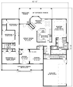 2500 sq ft one level 4 bedroom house plans House Plan