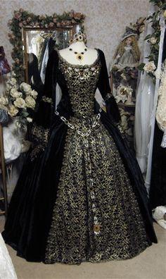 Gothic Renaissance Wine Velvet Fantasy Gown Custom