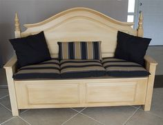 Headboard Bench Custom Made Storage From A Colonial Seat Lid Lifts Up For Lots