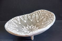 This is oval shape lace imprint decorative bowl from white clay. This is a multi functional item: you can use as home or table decoration item, or as unique gifts ideas (wedding, housewarming, birthday or other). This rustic ceramic bowl is from white clay. It has a lace imprinted texture and an asymmetrical shape. The imprint is on the inner and outer side surface of the bowl. Dimensions: Weight (of set) ~1 lb. 13 oz. or ~ 0,8 kg Size (diameter of each): ~ 10-6 1/2 in or (~ 25-16 cm) And…
