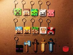 Minecraft Magnets Charms and Keychains from Perler Beads by DJbits by patsy