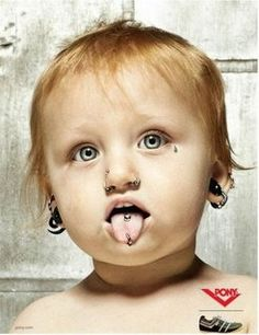 I love these funny baby Photoshop piercing/tattoo pics! They look so real xD