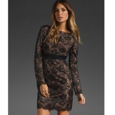Trina Turk✨ NWT Dentelle Lace Long Sleeve Dress Beautiful NWT Black lace Dentelle Dress with Neutral undertone attached slip. Long sleeve, mid length dress. Gorgeous and NEW! Trina Turk Dresses