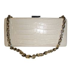 "1stdibs | NEW Crocodile Escada Clutch Bag ""Cafe Au Lait"""