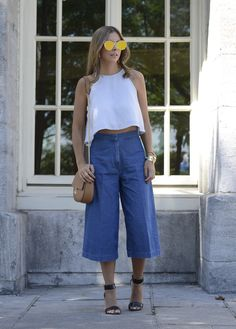 Denim Culottes. Striped Swing Crop Top.
