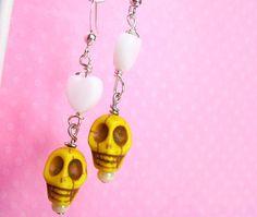 NEW - Girls Yellow Skull White Heart Earrings, Spooky Kawaii Macabre Earrings for Teens, Cute, Fairy Kei, Lolita