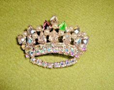 Rhinestone Brooch Pin Queen Princess Royalty Crown Vtg