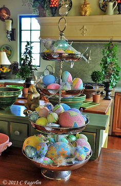 LOVE this Easter eggs display on tiered centerpiece