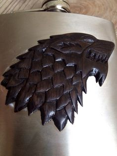 Hand Carved Flask of House Stark  Direwolf by SineCeraCarpentry, $70.00
