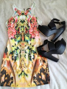 Colorful dress and cute heels!