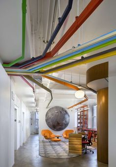 Exposed conduit color-coded to different design departments?  TED Conference NYC