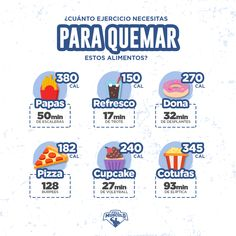 cuanto ejercicio necesitas para quemar la comida chatarra. #calories #calorías #diet #dieta #health #healthy #salud #saludable #gym #training #entrenamiento #fitness #tips #fullmusculo #bodybuilding #infografia #infographic #cheatmeal Health And Beauty, Health And Wellness, Health Fitness, Workout At Work, Gym Workouts, Fitness Motivation Quotes, Fitness Tips, Relax Tips, Loose Weight