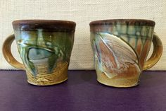 Ansel Beck Pottery.  Beautiful mugs in soft, earth tone colors, found at Nan Gunnett & Co in Hummelstown, PA.
