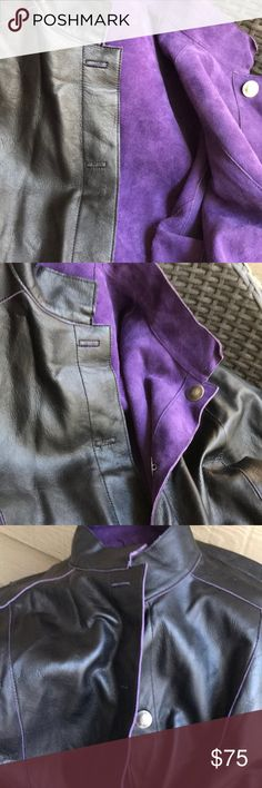 Chico's leather and suede- jacket Purple suede and black leather - reversible - Chico's Jackets & Coats