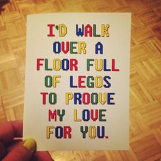 I'd walk over a floor of legos to proove my love for you. Funny card. Blank. Birthday. Anniversary. Wedding. Valentines day.  Copy Copy on Etsy, $3.75