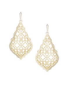 Gold metal filigree compliments a gold metal frame in the Addie Earrings by Kendra Scott. French Hook. 14k Gold Plated Brass.