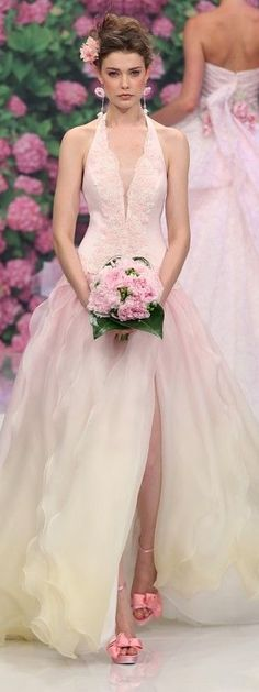 Lovely blush halter wedding gown from Atelier Aimée.