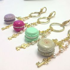 Macaron keychain/purse charm with gold key  choose by mahalmade, $9.00