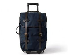 Filson Wheeled Carry On Suitcase/Remodelista :: and 9 other wheeled carry-on stars, via Carry On Suitcase, Carry On Luggage, Carry On Bag, Luggage Bags, Backseat Car Organizer, Smart Packing, Bags Online Shopping, Travel Bag, Mens Travel