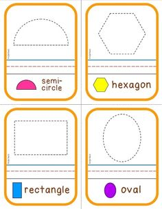 SHAPES: Tracing cards, posters (8.5x11), flashcards and a set of write & wipe cards. Each set contains: triangle, hexagon, rhombus & diamond, circle, semi-circle, rectangle, square, oval (K.G.A.2).