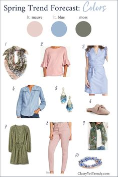Spring 2018 Trend Colors Forecast - see a few clothes, shoes and accessories for your wardrobe, like a top, tee, dress, pants, jeans, jewelry and shoes.