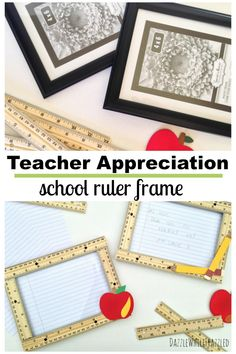 How to make DIY teacher appreciation gift using inexpensive photo frames and school rulers. Easy Thank You gift for teacher for last day of school. Teacher Treats, Teacher Appreciation Gifts, Teacher Gifts, Diy Craft Projects, Diy Crafts, Craft Ideas, Homemade Gift Baskets, Summer Crafts For Kids, Easy Diy Gifts