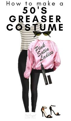 If you want to be Sandy from Grease for Halloween this year, here is the way to do it with this Greaser Halloween Costume! Greaser Halloween Costume, Easy Adult Halloween Costumes, Costumes For Teens, Family Halloween Costumes, Halloween Kostüm, 50s Costume, Costume Ideas, Grease Sandy, Sandy Grease Costume