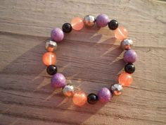Stretch Bracelet with Black Obsidian, Cherry Quartz, and Phosphosiderite by tlw1212 on Etsy