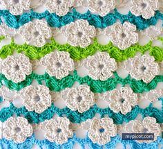 Crochet Flower Stitch Tutorial - (mypicot)