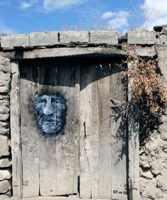 Old Face street art by Icy and Sot, Motalegh Village, Iran