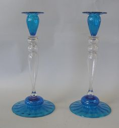 Steuben Celeste Blue & Clear Glass Candlesticks