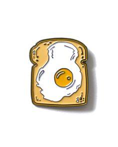 Fried Egg on Toast - Enamel Lapel Pin