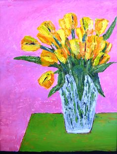 Tulips on Green Table, acrylic on paper 2015