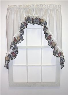Country Birdhouses ruffled swags window curtains is a great discount curtain featuring a 38 inch long ruffled swags pair with white curtain body and country birdhouses print ruffle. Ideal for kitchen curtains or bathroom window. Swag Curtains, White Curtains, Window Curtains, Window Toppers, Bathroom Windows, Discount Curtains, Kitchen Curtains, Bird Houses, Country