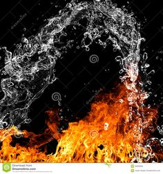 Fire Flames With Water Splash Royalty Free Stock Photos - Image ...