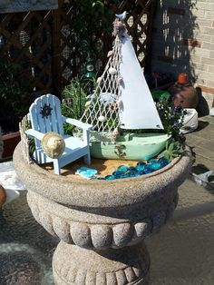 Beach theme fairy garden by my mom :)