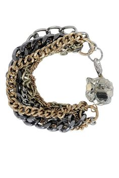 edfa52bfc7 A bold bracelet featuring chains of various sizes and colors with a pyrite  stone in the center. This is a Cute Chain Bracelet, Silver and Gold Chain  ...