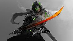 """Genji is so BA. I watched the premier and legit punched my self in the leg multiple times while chanting """"YES"""" when my boi destroyed that robot and saved Winston. A freaking legend. Ice to meet you. Overwatch Comic, Overwatch Genji, Overwatch Fan Art, Fantasy Character Design, Character Concept, Character Art, Concept Art, Doodle Drawing, Genji Shimada"""