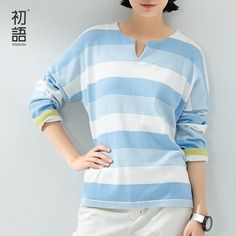 Toyouth Autumn Women's Sweaters Color Block Stripe Long-Sleeve  Knitted Striped Pullovers Female Loose Casual Sweaters
