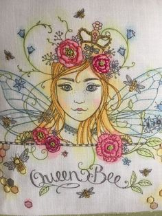 Our fairy queen embroidery pattern beautifully stitched by Hannah White and hand painted too.