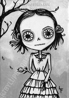 Sofia Flowers For The Dead 5x7 art print Day of by ArtByLupeFlores, $6.99