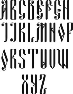 Latin Alphabet in Old Russian Cyrillic Typeface/font
